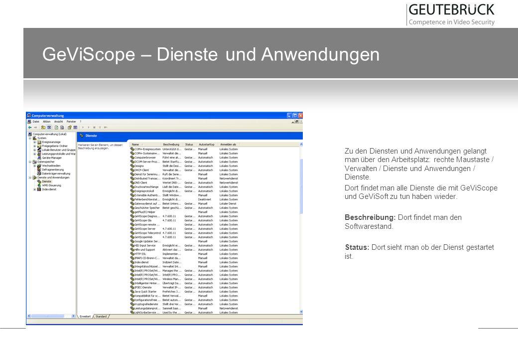 GeViScope – Dienste und Anwendungen Zu den Diensten und Anwendungen gelangt man über den Arbeitsplatz: rechte Maustaste / Verwalten / Dienste und Anwe