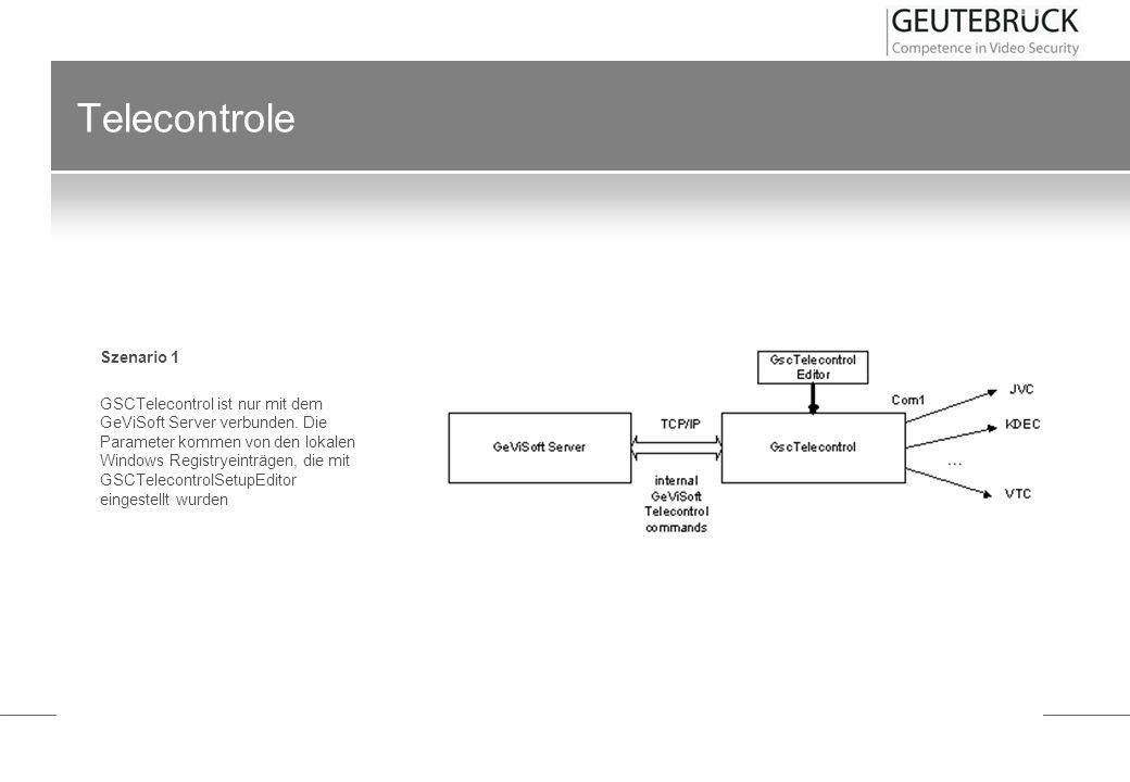 Telecontrole Szenario 1 GSCTelecontrol ist nur mit dem GeViSoft Server verbunden. Die Parameter kommen von den lokalen Windows Registryeinträgen, die