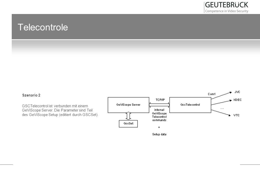Telecontrole Szenario 2 GSCTelecontrol ist verbunden mit einem GeViScope Server. Die Parameter sind Teil des GeViScope Setup (editiert durch GSCSet).