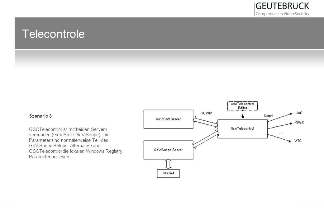 Telecontrole Szenario 3 GSCTelecontrol ist mit beiden Servern verbunden (GeViSoft / GeViScope). Die Parameter sind normalerweise Teil des GeViScope Se