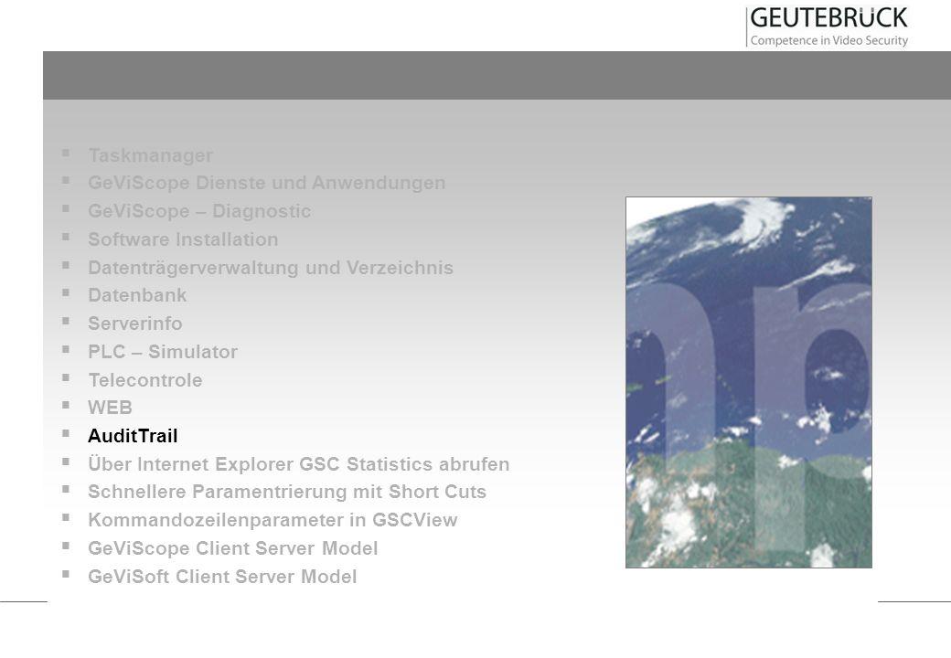 Taskmanager GeViScope Dienste und Anwendungen GeViScope – Diagnostic Software Installation Datenträgerverwaltung und Verzeichnis Datenbank Serverinfo