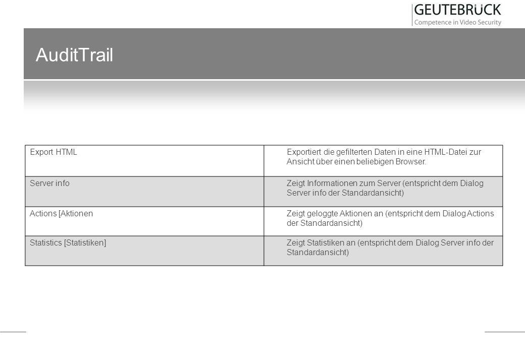 AuditTrail Export HTML Exportiert die gefilterten Daten in eine HTML-Datei zur Ansicht über einen beliebigen Browser. Server info Zeigt Informationen