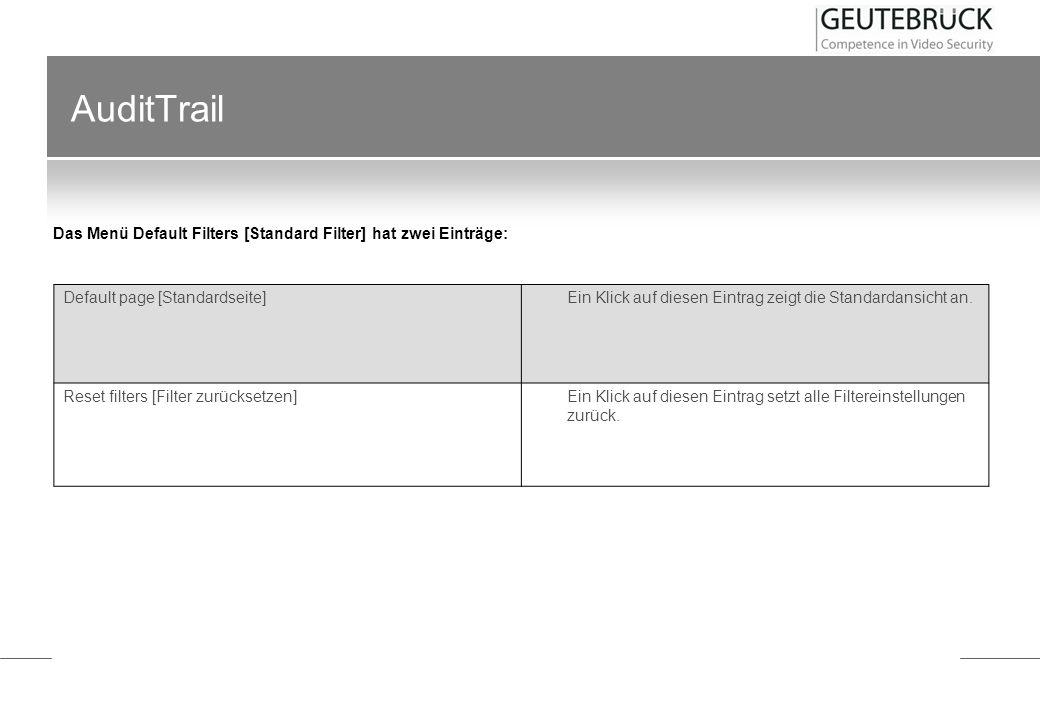 AuditTrail Im Menü Audit Trail finden sich sieben Einträge: Default page [Standardseite] Ein Klick auf diesen Eintrag zeigt die Standardansicht an. Re