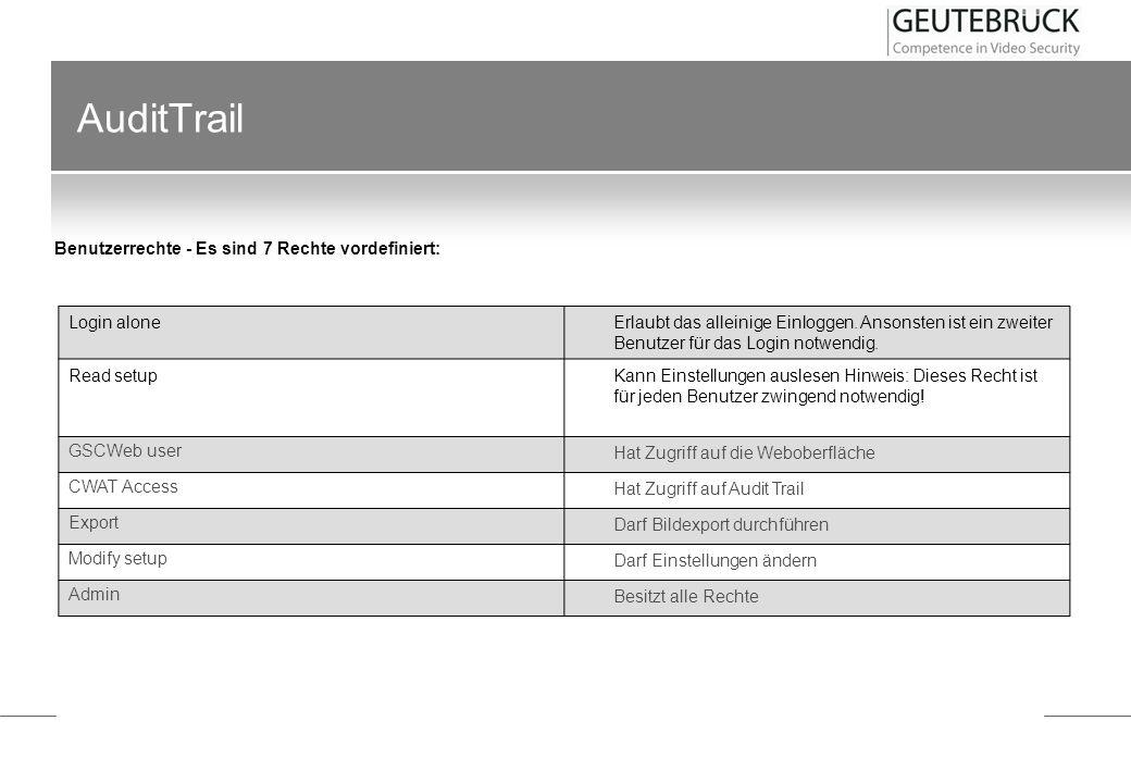 AuditTrail Im Menü Audit Trail finden sich sieben Einträge: Login alone Erlaubt das alleinige Einloggen. Ansonsten ist ein zweiter Benutzer für das Lo