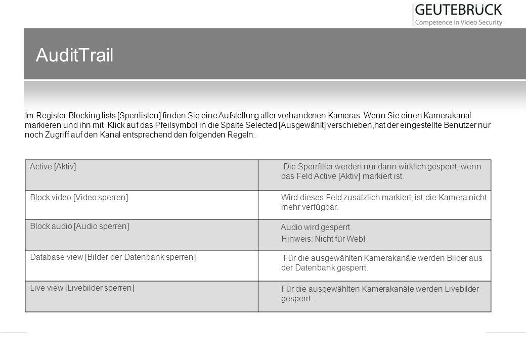 AuditTrail Im Menü Audit Trail finden sich sieben Einträge: Active [Aktiv] Die Sperrfilter werden nur dann wirklich gesperrt, wenn das Feld Active [Ak