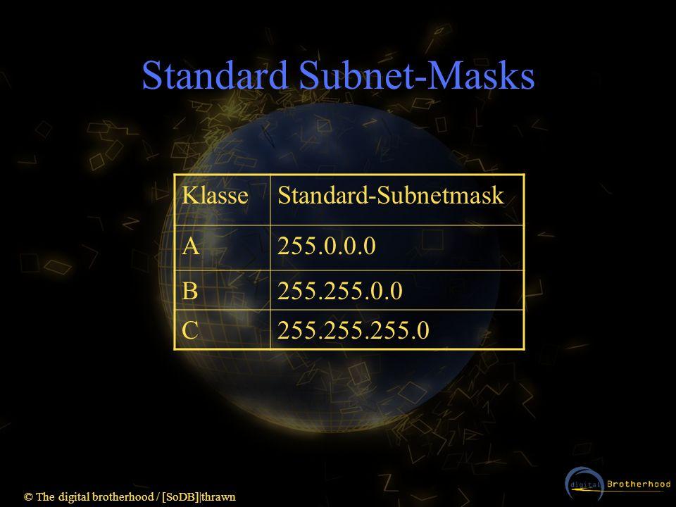 © The digital brotherhood / [SoDB]|thrawn Standard Subnet-Masks KlasseStandard-Subnetmask A255.0.0.0 B255.255.0.0 C255.255.255.0