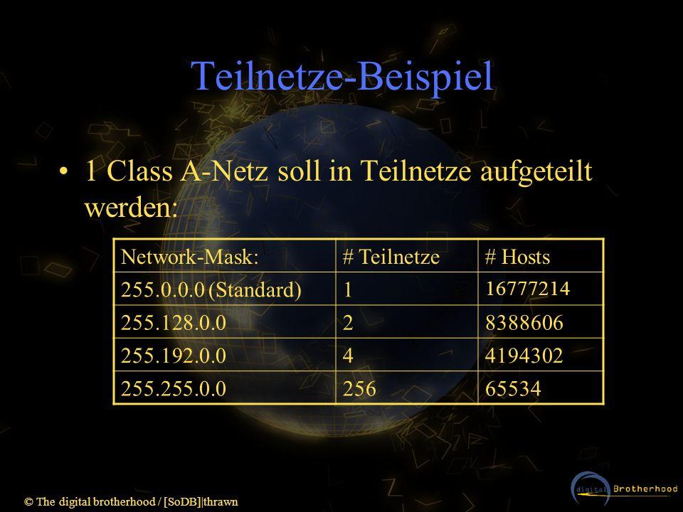 © The digital brotherhood / [SoDB]|thrawn Teilnetze-Beispiel 1 Class A-Netz soll in Teilnetze aufgeteilt werden: Network-Mask:# Teilnetze# Hosts 255.0