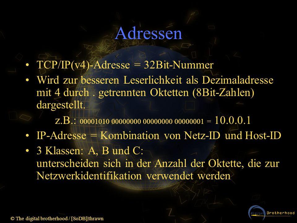 © The digital brotherhood / [SoDB]|thrawn Adressen TCP/IP(v4)-Adresse = 32Bit-Nummer Wird zur besseren Leserlichkeit als Dezimaladresse mit 4 durch. g
