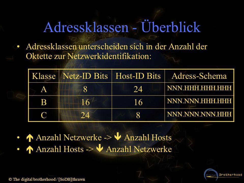 © The digital brotherhood / [SoDB] thrawn Netzwerkklassen - Unterscheidung Können anhand des ersten Oktettes erkannt werden: Klasse AnfangEnde BinärDezimalBinärDezimal A00000001101111111127 B1000000012810111111191 C1100000019211011111223