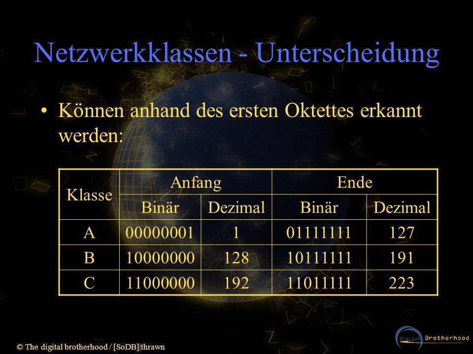© The digital brotherhood / [SoDB] thrawn Netzwerkklassen - Zusammenfassung Nicht erlaubt: –127.x.x.x (Loopback) –Nur aus 0en oder 1en bestehende Host- oder Netz-Ids (Broadcast) z.B.