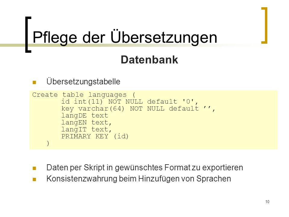 10 Pflege der Übersetzungen Datenbank Übersetzungstabelle Create table languages ( id int(11) NOT NULL default 0 , key varchar(64) NOT NULL default, langDE text langEN text, langIT text, PRIMARY KEY (id) ) Daten per Skript in gewünschtes Format zu exportieren Konsistenzwahrung beim Hinzufügen von Sprachen