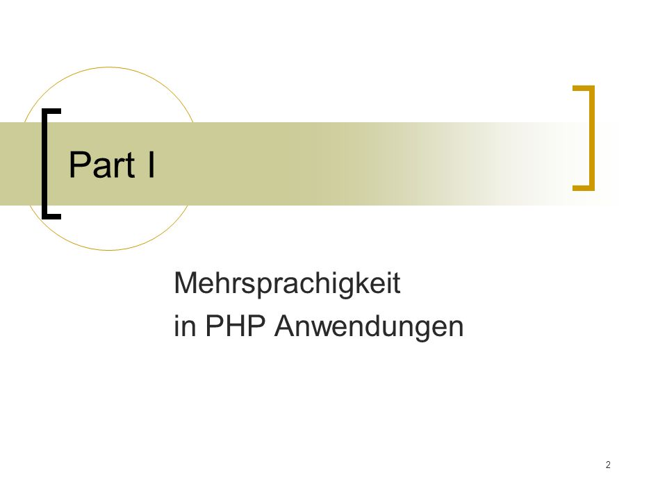 2 Part I Mehrsprachigkeit in PHP Anwendungen