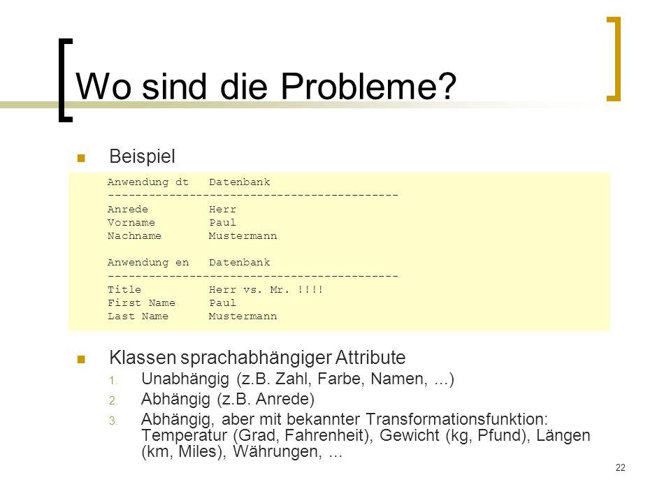 22 Wo sind die Probleme? Beispiel Klassen sprachabhängiger Attribute 1. Unabhängig (z.B. Zahl, Farbe, Namen,...) 2. Abhängig (z.B. Anrede) 3. Abhängig