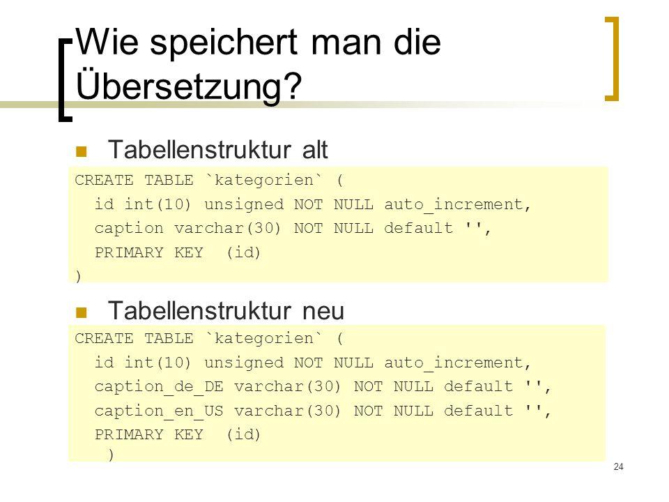 24 Wie speichert man die Übersetzung? Tabellenstruktur alt Tabellenstruktur neu CREATE TABLE `kategorien` ( id int(10) unsigned NOT NULL auto_incremen