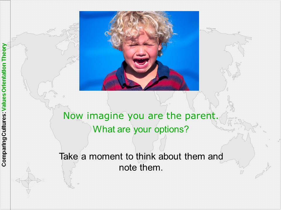 Now imagine you are the parent. What are your options? Take a moment to think about them and note them. Comparing Cultures: Values Orientation Theory