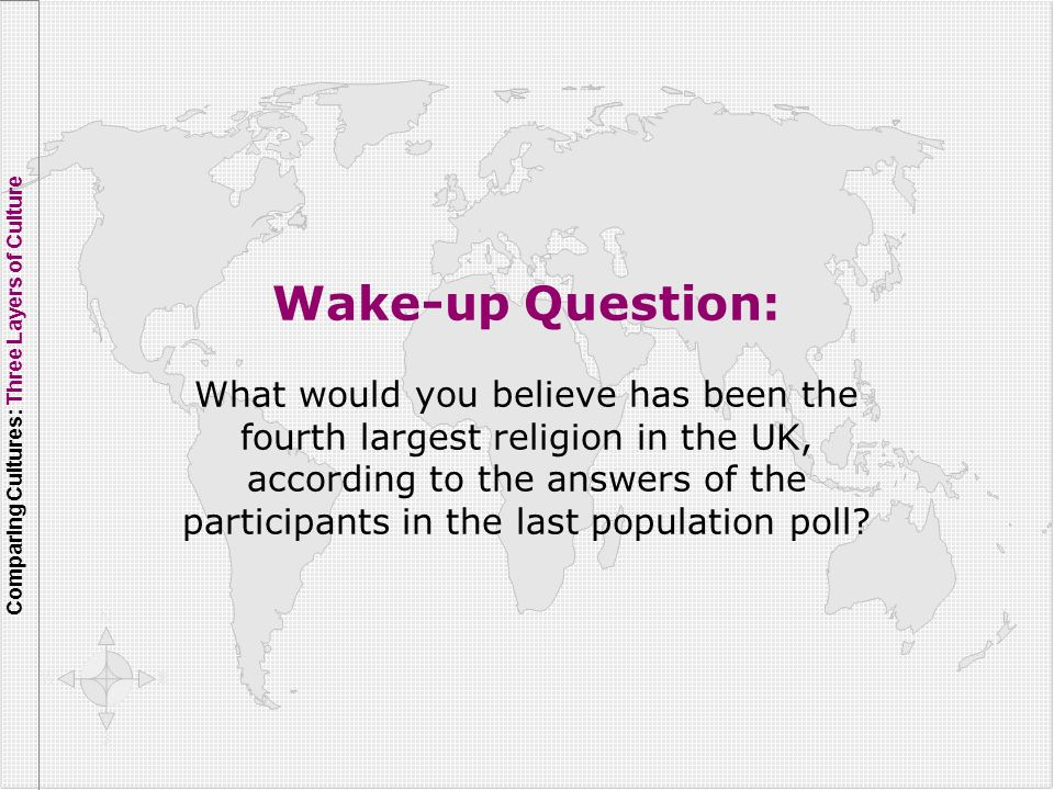 Wake-up Question: What would you believe has been the fourth largest religion in the UK, according to the answers of the participants in the last popu