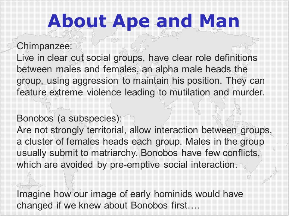 About Ape and Man Chimpanzee: Live in clear cut social groups, have clear role definitions between males and females, an alpha male heads the group, u
