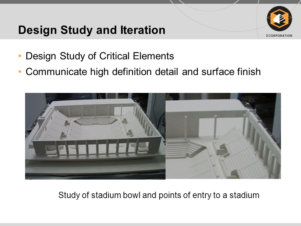 Customer Communication Rapid production of communication models for clients in design review process Easily create inset detail models Cross section of a public stadium being proposed for construction in Rio De Janeiro