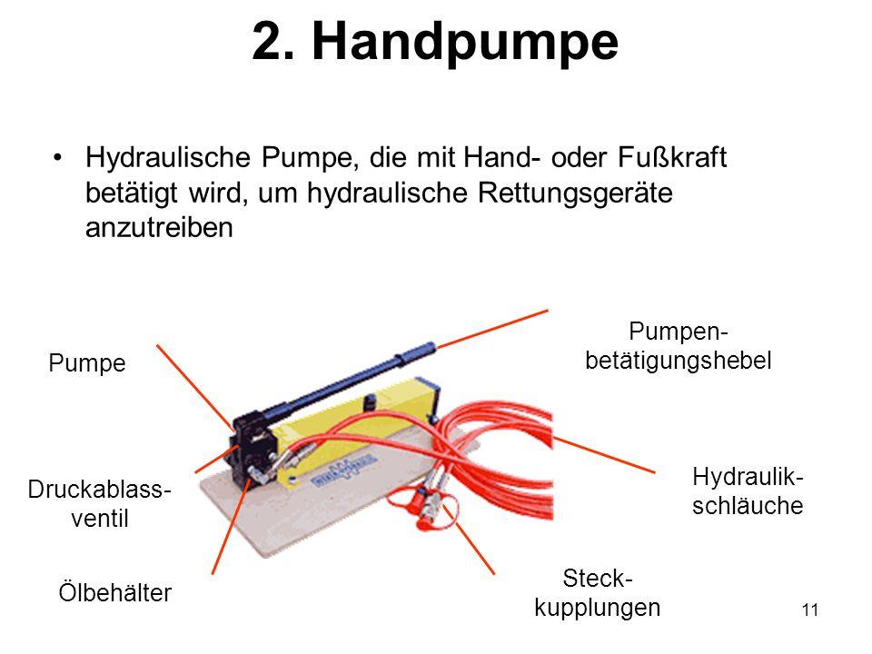 11 2. Handpumpe Hydraulische Pumpe, die mit Hand- oder Fußkraft betätigt wird, um hydraulische Rettungsgeräte anzutreiben Pumpe Pumpen- betätigungsheb