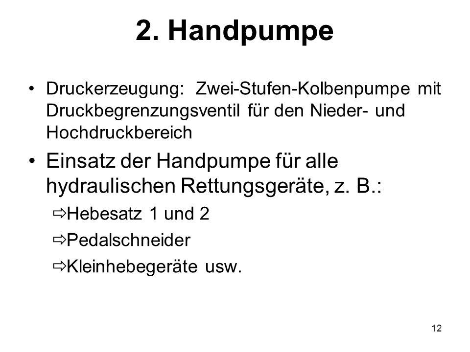 12 2. Handpumpe Druckerzeugung: Zwei-Stufen-Kolbenpumpe mit Druckbegrenzungsventil für den Nieder- und Hochdruckbereich Einsatz der Handpumpe für alle
