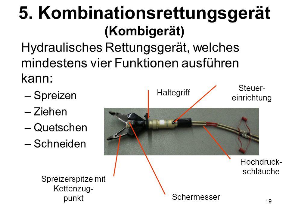 19 5. Kombinationsrettungsgerät (Kombigerät) Hydraulisches Rettungsgerät, welches mindestens vier Funktionen ausführen kann: –Spreizen –Ziehen –Quetsc