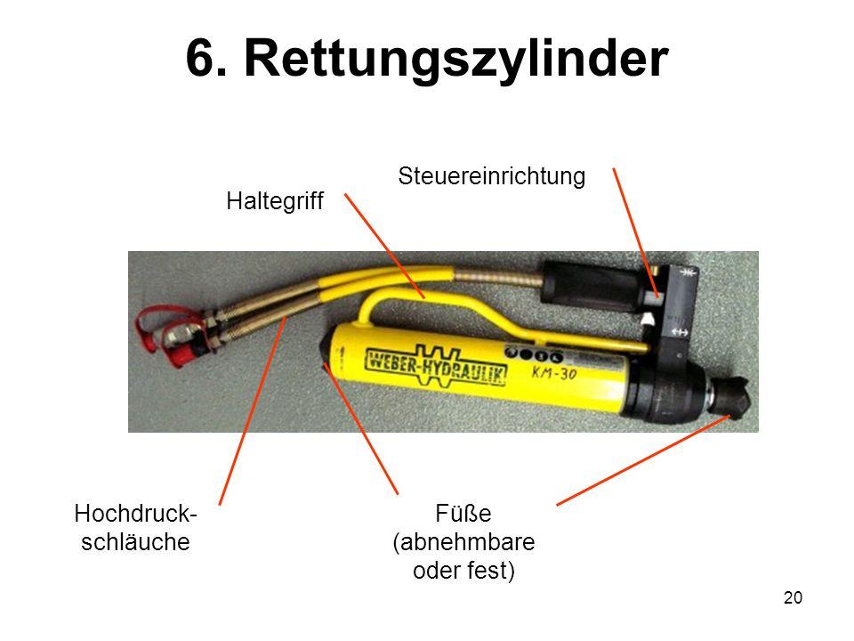 20 6. Rettungszylinder Hochdruck- schläuche Steuereinrichtung Haltegriff Füße (abnehmbare oder fest)