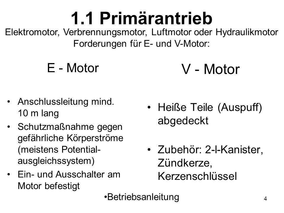 4 1.1 Primärantrieb E - Motor Anschlussleitung mind. 10 m lang Schutzmaßnahme gegen gefährliche Körperströme (meistens Potential- ausgleichssystem) Ei