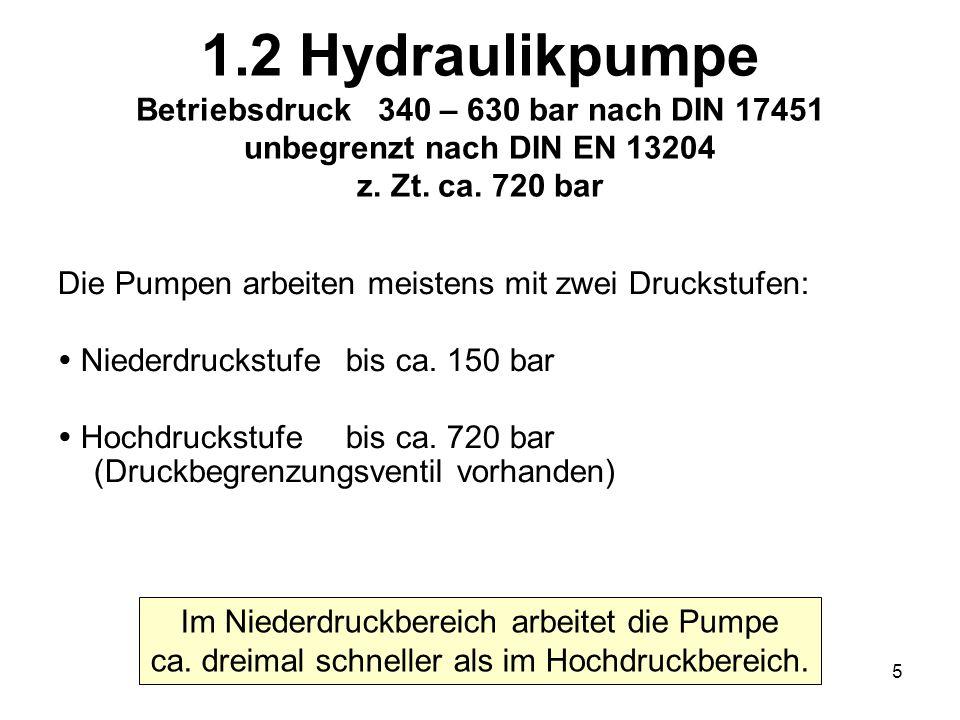 5 1.2 Hydraulikpumpe Betriebsdruck 340 – 630 bar nach DIN 17451 unbegrenzt nach DIN EN 13204 z. Zt. ca. 720 bar Die Pumpen arbeiten meistens mit zwei