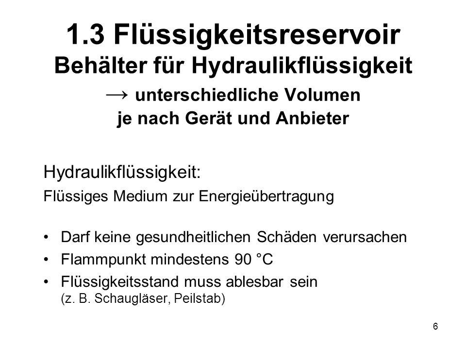 6 1.3 Flüssigkeitsreservoir Behälter für Hydraulikflüssigkeit unterschiedliche Volumen je nach Gerät und Anbieter Hydraulikflüssigkeit: Flüssiges Medi