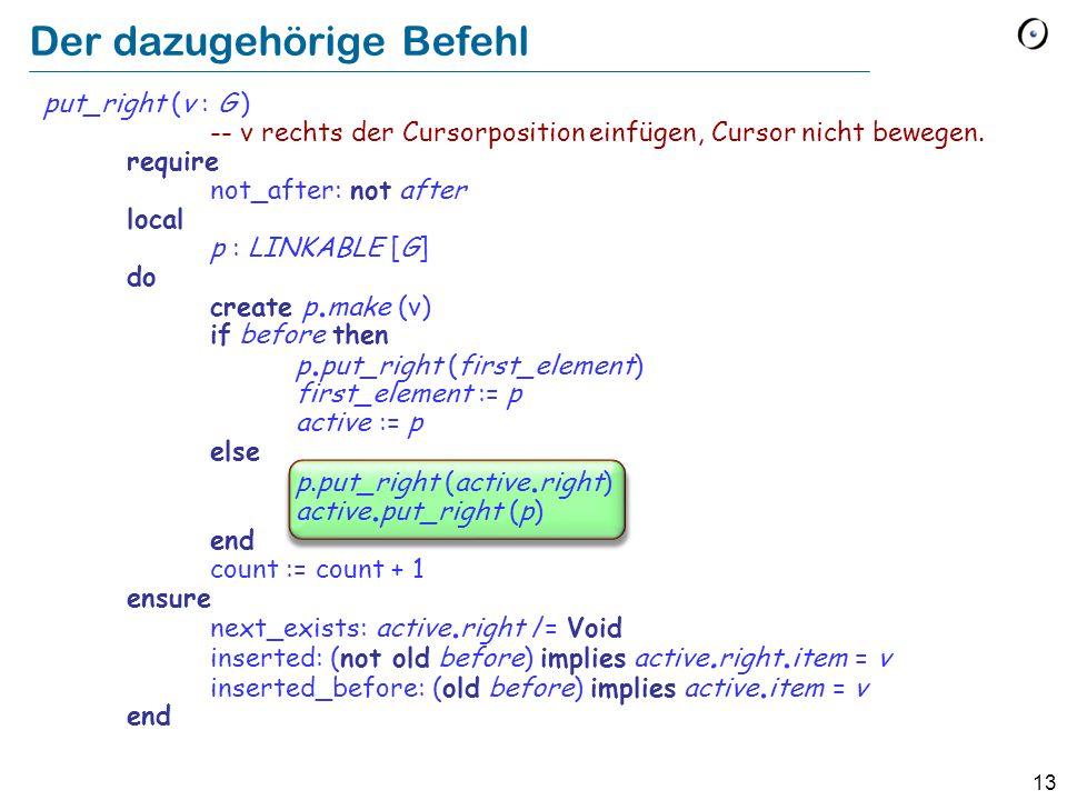 13 Der dazugehörige Befehl put_right (v : G ) -- v rechts der Cursorposition einfügen, Cursor nicht bewegen.