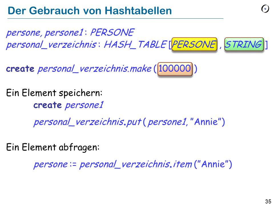 35 Der Gebrauch von Hashtabellen persone, persone1 : PERSONE personal_verzeichnis : HASH_TABLE [PERSONE, STRING ] create personal_verzeichnis.make ( 100000 ) Ein Element speichern: create persone1 personal_verzeichnis.