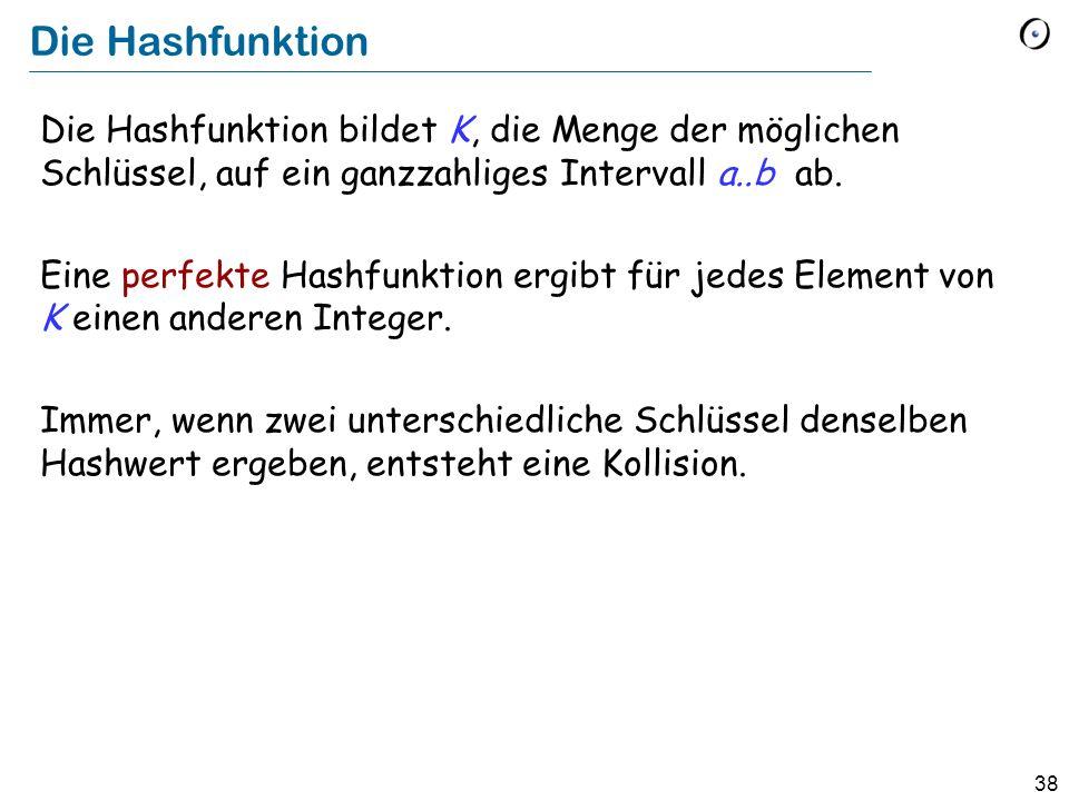 38 Die Hashfunktion Die Hashfunktion bildet K, die Menge der möglichen Schlüssel, auf ein ganzzahliges Intervall a..b ab.