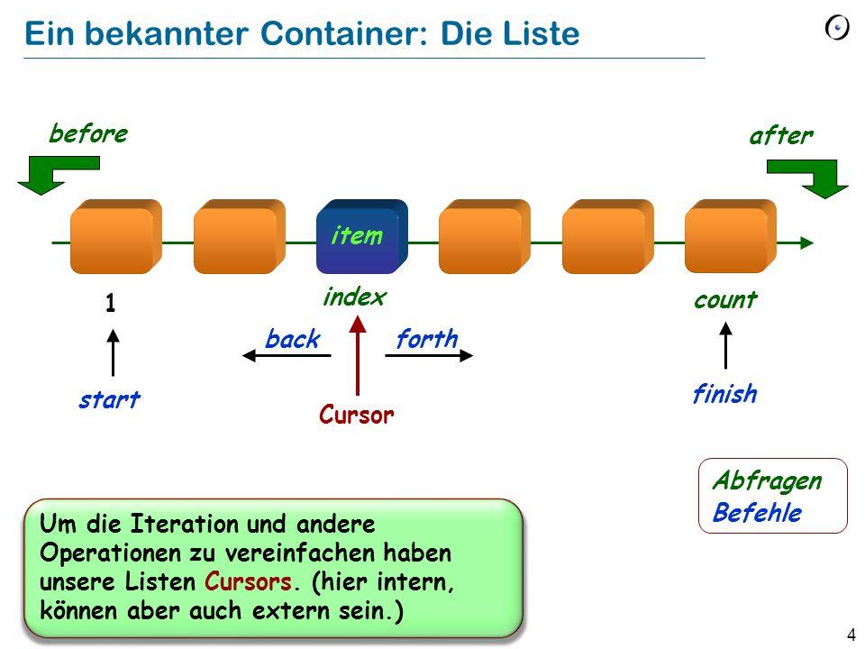 4 Ein bekannter Container: Die Liste item Cursor forth after before back index count 1 finish start Um die Iteration und andere Operationen zu vereinfachen haben unsere Listen Cursors.