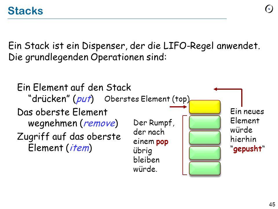 45 Stacks Ein Stack ist ein Dispenser, der die LIFO-Regel anwendet.