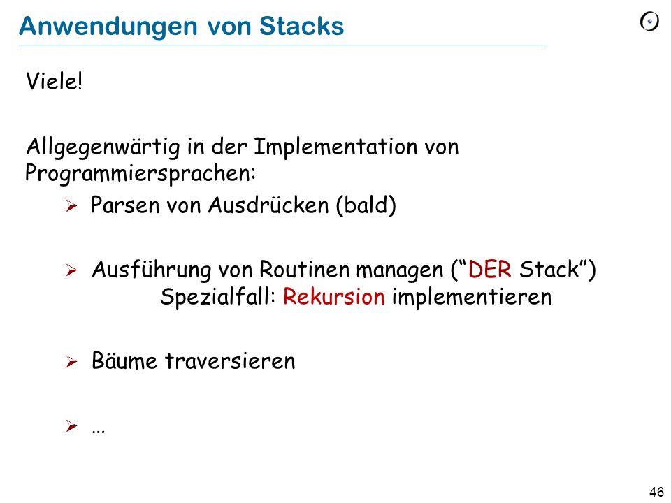46 Anwendungen von Stacks Viele.