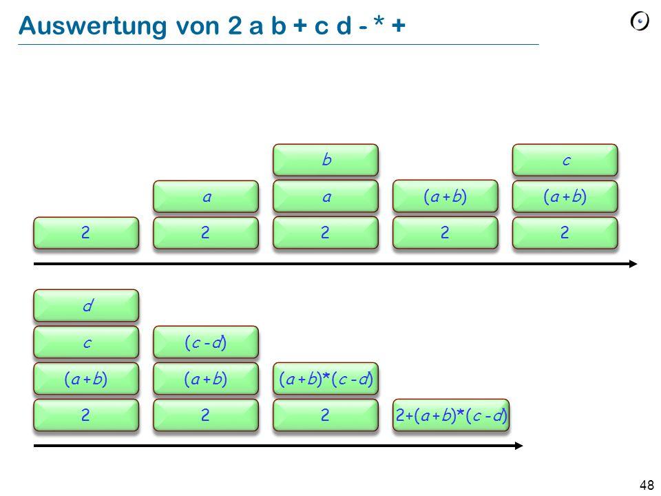 48 Auswertung von 2 a b + c d - * + 22 a 2 a b 2 (a +b) 2 c 2 c d 2 (c -d) 2 (a +b)*(c -d) 2+(a +b)*(c -d)