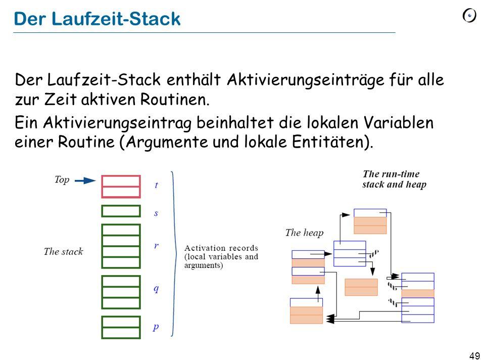 49 Der Laufzeit-Stack Der Laufzeit-Stack enthält Aktivierungseinträge für alle zur Zeit aktiven Routinen.