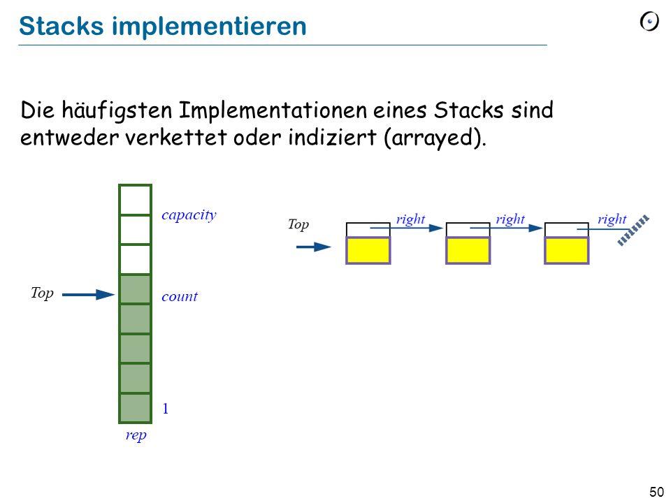 50 Stacks implementieren Die häufigsten Implementationen eines Stacks sind entweder verkettet oder indiziert (arrayed).