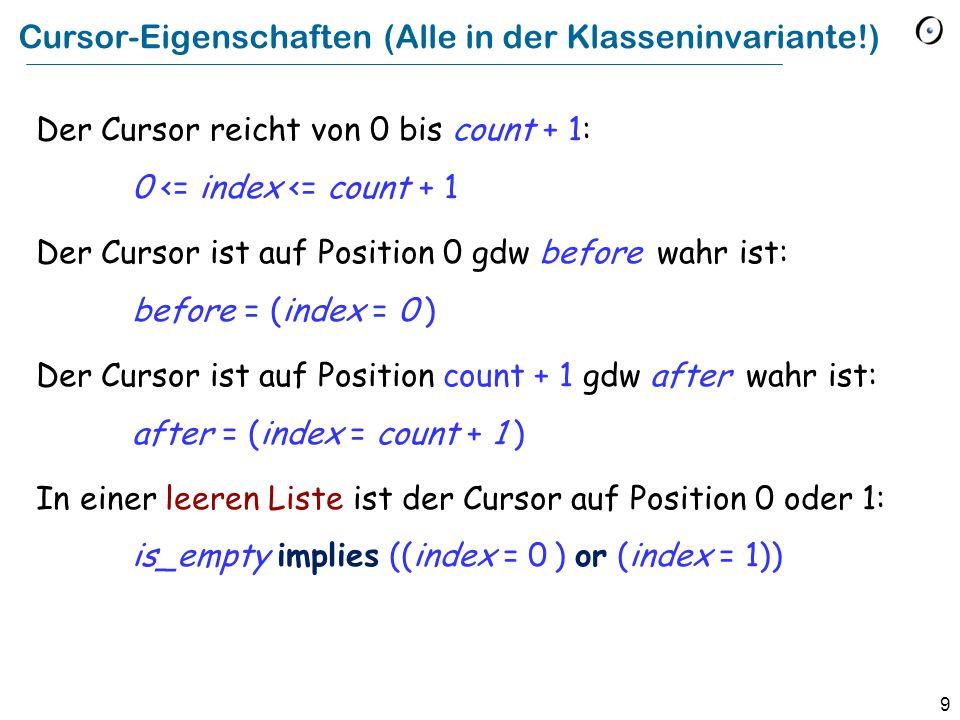 9 Cursor-Eigenschaften (Alle in der Klasseninvariante!) Der Cursor reicht von 0 bis count + 1: 0 <= index <= count + 1 Der Cursor ist auf Position 0 gdw before wahr ist: before = (index = 0 ) Der Cursor ist auf Position count + 1 gdw after wahr ist: after = (index = count + 1 ) In einer leeren Liste ist der Cursor auf Position 0 oder 1: is_empty implies ((index = 0 ) or (index = 1))