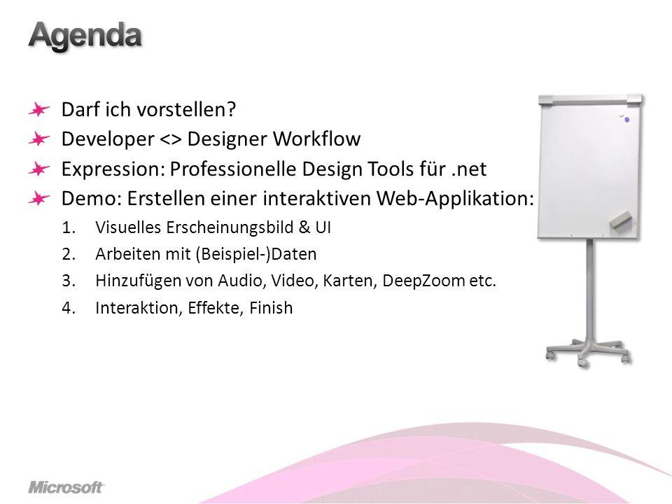 Darf ich vorstellen? Developer <> Designer Workflow Expression: Professionelle Design Tools für.net Demo: Erstellen einer interaktiven Web-Applikation