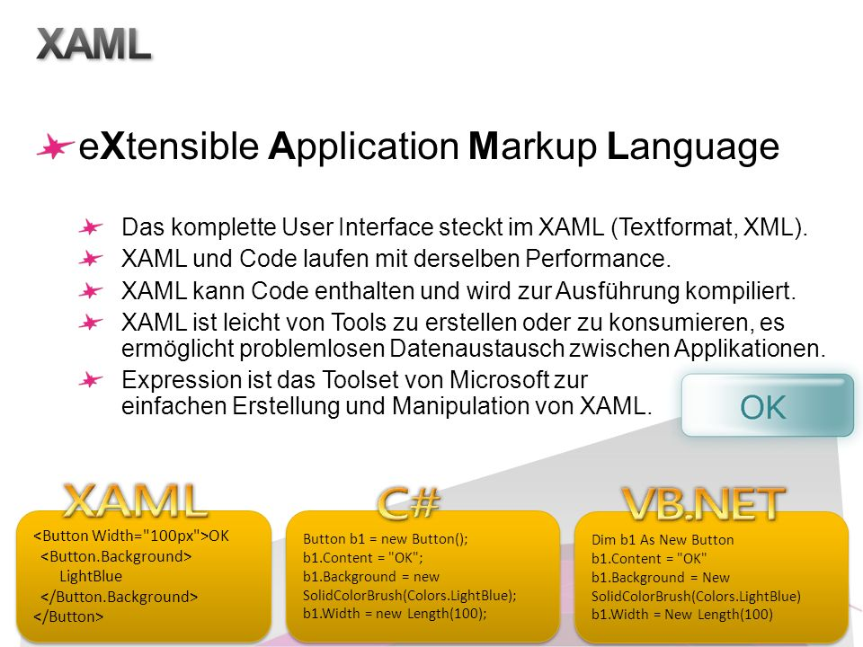 eXtensible Application Markup Language Das komplette User Interface steckt im XAML (Textformat, XML). XAML und Code laufen mit derselben Performance.