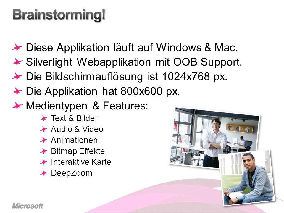 Diese Applikation läuft auf Windows & Mac. Silverlight Webapplikation mit OOB Support. Die Bildschirmauflösung ist 1024x768 px. Die Applikation hat 80