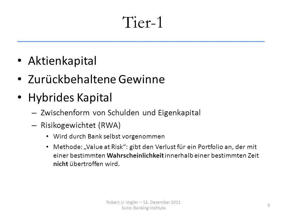 Tier-1 _______________________________________ Aktienkapital Zurückbehaltene Gewinne Hybrides Kapital – Zwischenform von Schulden und Eigenkapital – Risikogewichtet (RWA) Wird durch Bank selbst vorgenommen Methode: Value at Risk: gibt den Verlust für ein Portfolio an, der mit einer bestimmten Wahrscheinlichkeit innerhalb einer bestimmten Zeit nicht übertroffen wird.