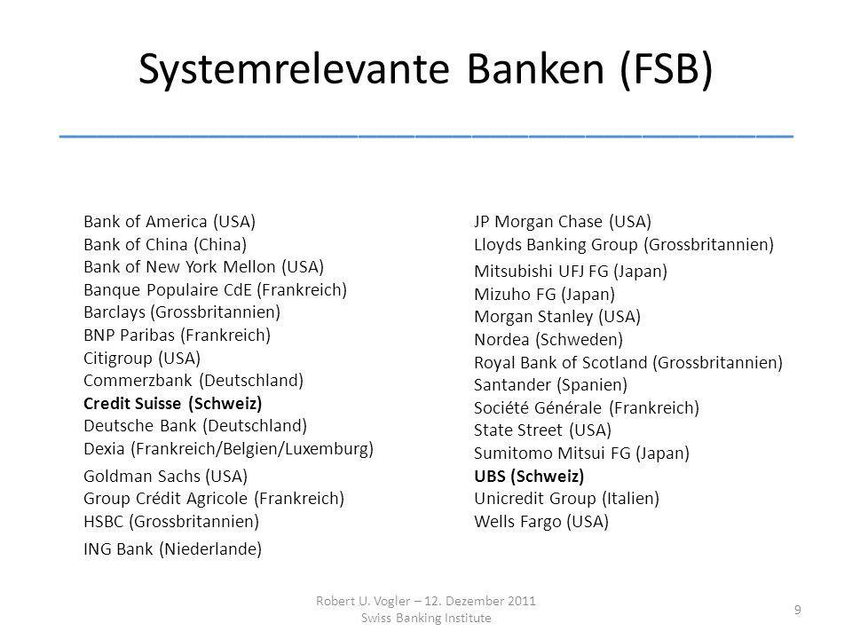 Systemrelevante Banken (FSB) _______________________________________ Bank of America (USA) Bank of China (China) Bank of New York Mellon (USA) Banque Populaire CdE (Frankreich) Barclays (Grossbritannien) BNP Paribas (Frankreich) Citigroup (USA) Commerzbank (Deutschland) Credit Suisse (Schweiz) Deutsche Bank (Deutschland) Dexia (Frankreich/Belgien/Luxemburg) Goldman Sachs (USA) Group Crédit Agricole (Frankreich) HSBC (Grossbritannien) ING Bank (Niederlande) JP Morgan Chase (USA) Lloyds Banking Group (Grossbritannien) Mitsubishi UFJ FG (Japan) Mizuho FG (Japan) Morgan Stanley (USA) Nordea (Schweden) Royal Bank of Scotland (Grossbritannien) Santander (Spanien) Société Générale (Frankreich) State Street (USA) Sumitomo Mitsui FG (Japan) UBS (Schweiz) Unicredit Group (Italien) Wells Fargo (USA) Robert U.