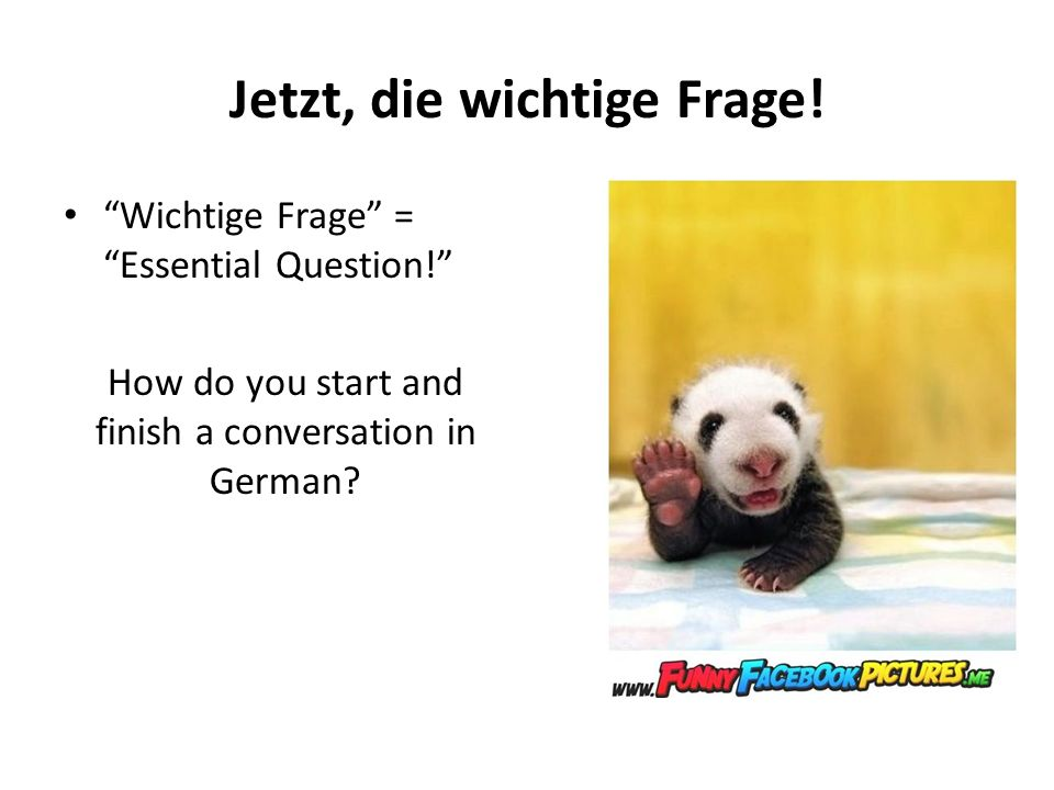 Jetzt, die wichtige Frage! Wichtige Frage = Essential Question! How do you start and finish a conversation in German?
