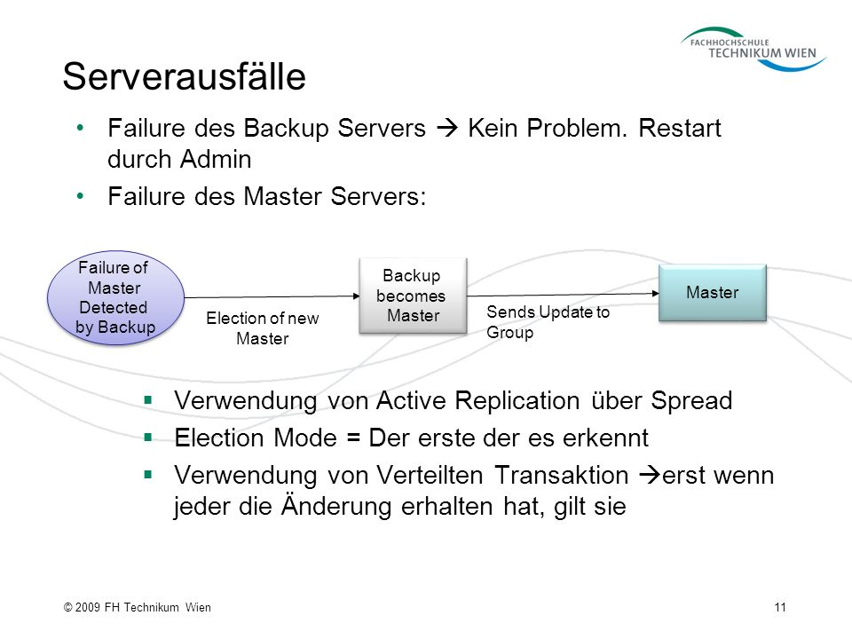 11© 2009 FH Technikum Wien Serverausfälle Failure of Master Detected by Backup Failure of Master Detected by Backup Backup becomes Master Backup becomes Master Election of new Master Master Sends Update to Group Verwendung von Active Replication über Spread Election Mode = Der erste der es erkennt Verwendung von Verteilten Transaktion erst wenn jeder die Änderung erhalten hat, gilt sie Failure des Backup Servers Kein Problem.