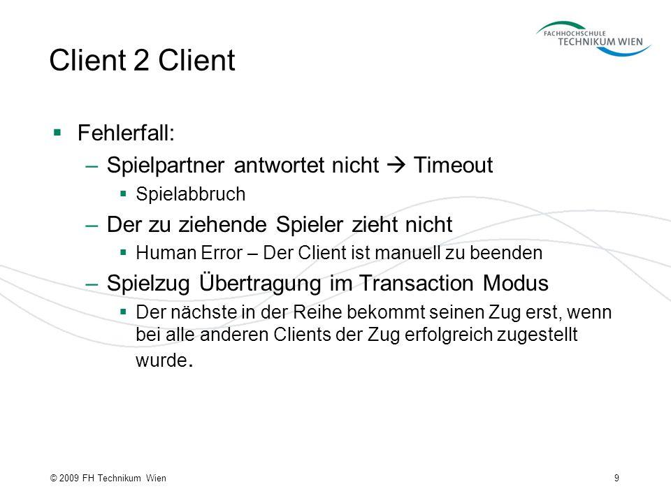 Client 2 Client Fehlerfall: –Spielpartner antwortet nicht Timeout Spielabbruch –Der zu ziehende Spieler zieht nicht Human Error – Der Client ist manue