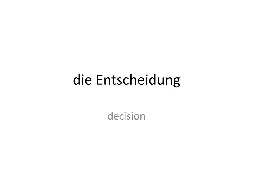 die Entscheidung decision