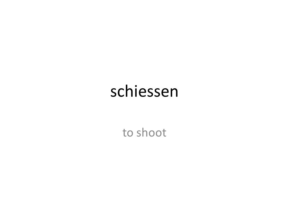 schiessen to shoot