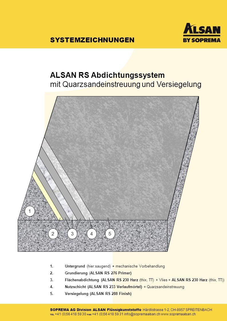 SOPREMA AG Division ALSAN Flüssigkunststoffe Härdlistrasse 1-2, CH-8957 SPREITENBACH TEL +41 (0)56 418 59 30 FAX +41 (0)56 418 59 31 info@sopremaalsan.ch www.sopremaalsan.ch SYSTEMZEICHNUNGEN 1.Untergrund (hier:saugend) + mechanische Vorbehandlung 2.Grundierung (ALSAN RS 276 Primer) 3.Flächenabdichtung (ALSAN RS 230 Harz (thix, TT) + Vlies + ALSAN RS 230 Harz (thix, TT)) 4.Nutzschicht (ALSAN RS 233 Verlaufmörtel) + Quarzsandeinstreuung 5.Versiegelung (ALSAN RS 288 Finish) 34 1 52 ALSAN RS Abdichtungssystem mit Quarzsandeinstreuung und Versiegelung